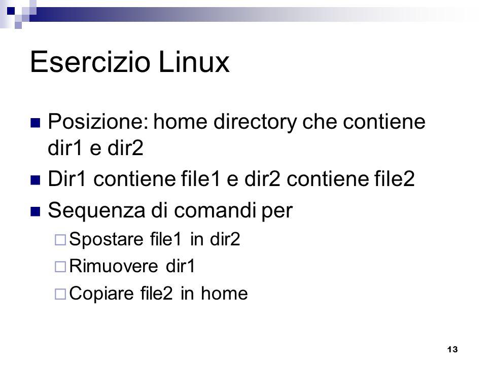 13 Esercizio Linux Posizione: home directory che contiene dir1 e dir2 Dir1 contiene file1 e dir2 contiene file2 Sequenza di comandi per  Spostare fil