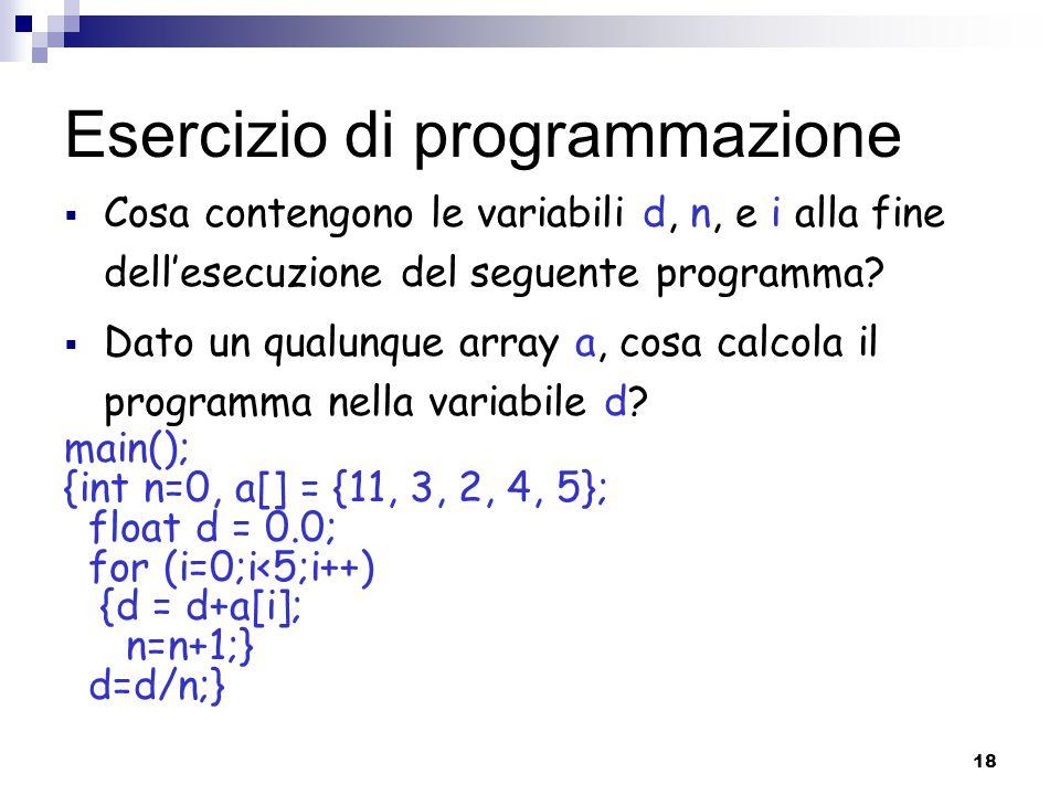 18 Esercizio di programmazione  Cosa contengono le variabili d, n, e i alla fine dell'esecuzione del seguente programma?  Dato un qualunque array a,