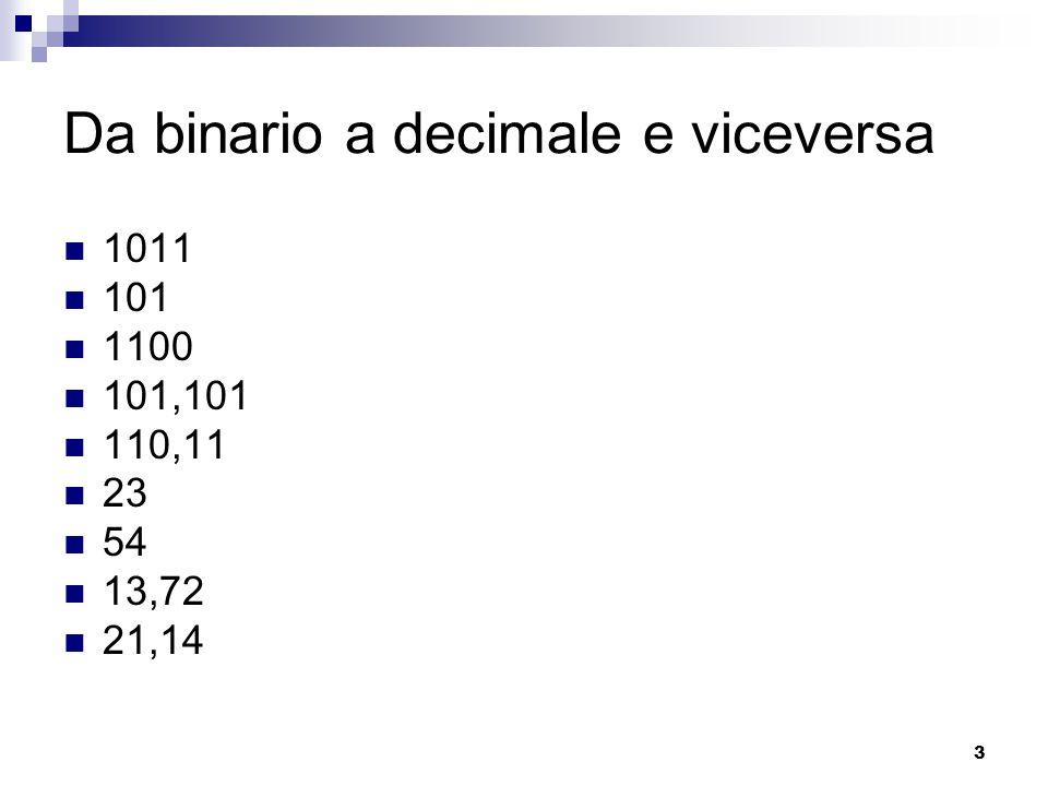 3 Da binario a decimale e viceversa 1011 101 1100 101,101 110,11 23 54 13,72 21,14