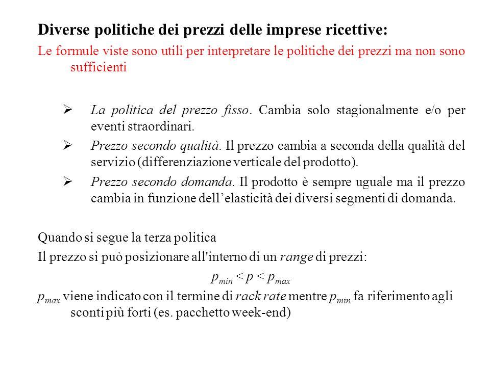 Diverse politiche dei prezzi delle imprese ricettive: Le formule viste sono utili per interpretare le politiche dei prezzi ma non sono sufficienti  L