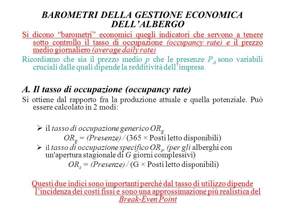 """BAROMETRI DELLA GESTIONE ECONOMICA DELL'ALBERGO Si dicono """"barometri"""" economici quegli indicatori che servono a tenere sotto controllo il tasso di occ"""