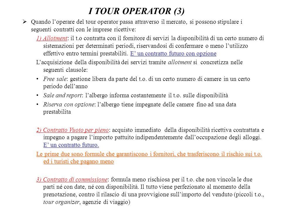 I TOUR OPERATOR (3)  Quando l'operare del tour operator passa attraverso il mercato, si possono stipulare i seguenti contratti con le imprese ricetti