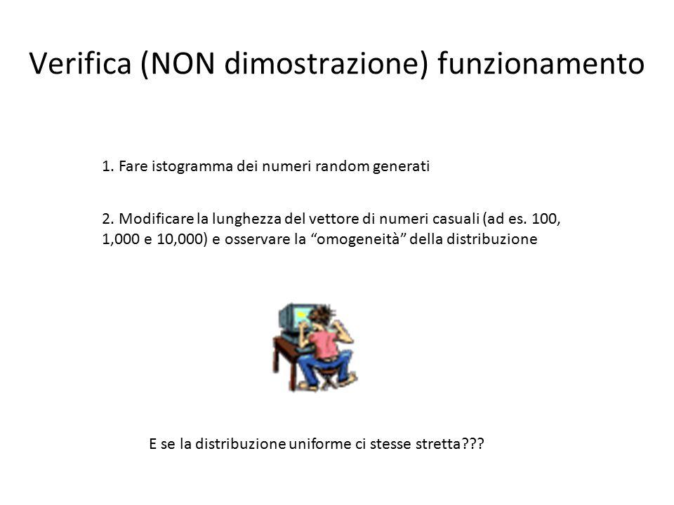 Verifica (NON dimostrazione) funzionamento 1. Fare istogramma dei numeri random generati 2.