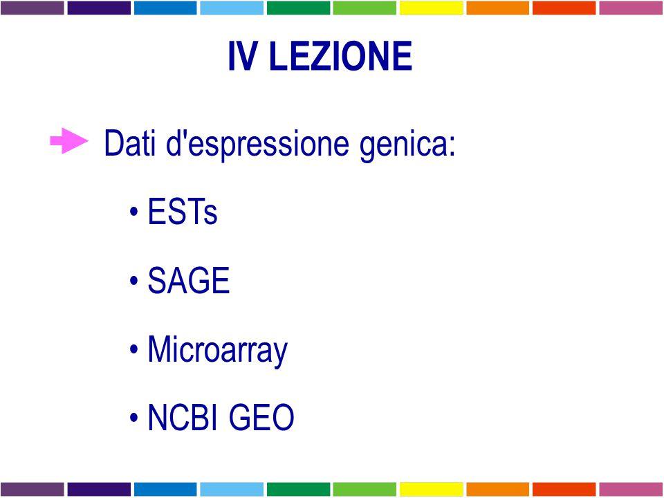 IV LEZIONE Dati d'espressione genica: ESTs SAGE Microarray NCBI GEO