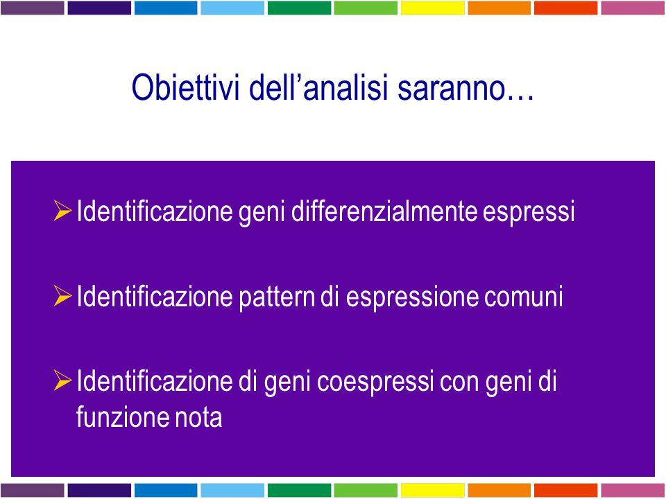 Obiettivi dell'analisi saranno…  Identificazione geni differenzialmente espressi  Identificazione pattern di espressione comuni  Identificazione di