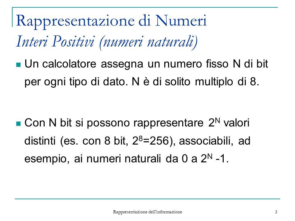 Rappresentazione dell informazione 14 Addizione La sottrazione equivale alla somma del minuendo con la negazione (rappresentazione complementata) del sottraendo.