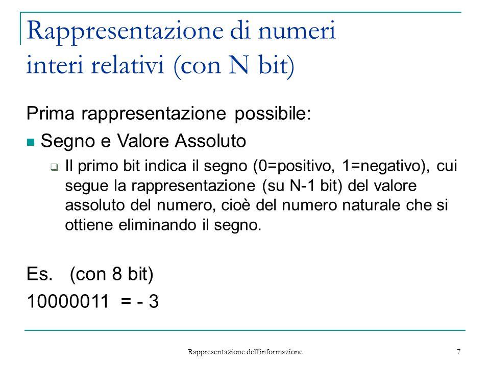 Rappresentazione dell informazione 18 Esempio 1 (overflow) Con 8 bit posso rappresentare: interi positivi da 0 a 255 interi con segno da -128 a +127 Supponiamo di essere nel primo caso e di avere 11111111 = (255) 10 255 + 1 = .