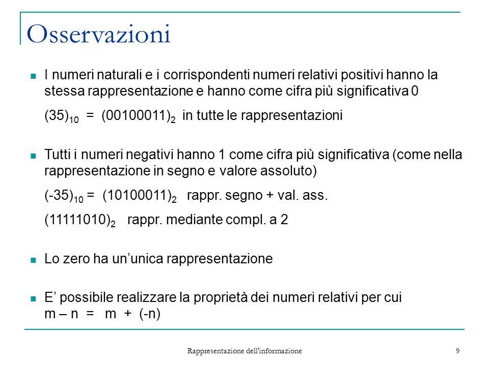 Rappresentazione dell informazione 20 Rappresentazione di Numeri Reali Un numero reale è una grandezza continua Può assumere infiniti valori In una rappresentazione di lunghezza limitata, deve di solito essere approssimato.