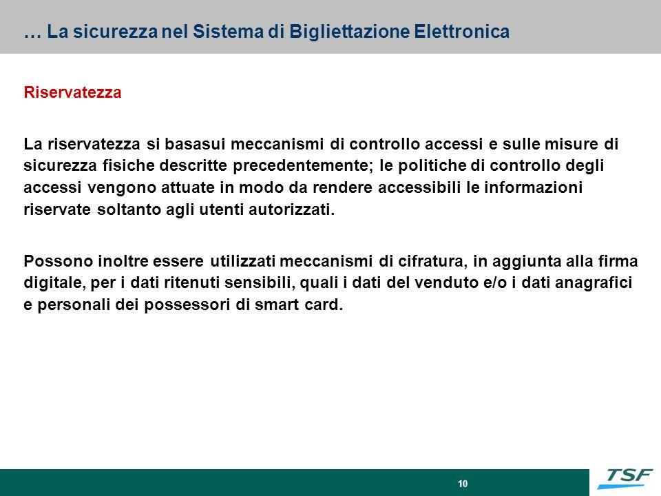 10 … La sicurezza nel Sistema di Bigliettazione Elettronica Riservatezza La riservatezza si basasui meccanismi di controllo accessi e sulle misure di