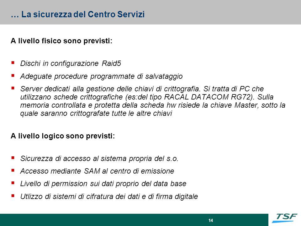 14 … La sicurezza del Centro Servizi A livello fisico sono previsti:  Dischi in configurazione Raid5  Adeguate procedure programmate di salvataggio