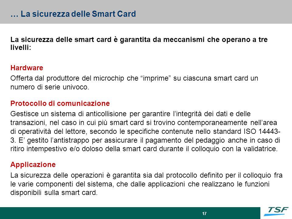17 … La sicurezza delle Smart Card La sicurezza delle smart card è garantita da meccanismi che operano a tre livelli: Hardware Offerta dal produttore