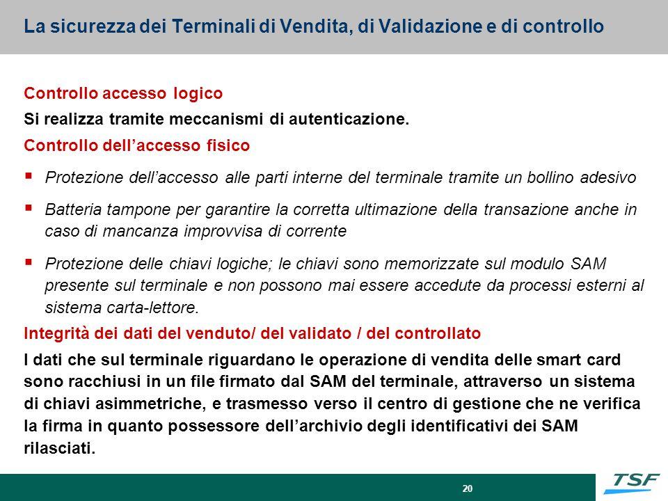 20 La sicurezza dei Terminali di Vendita, di Validazione e di controllo Controllo accesso logico Si realizza tramite meccanismi di autenticazione. Con