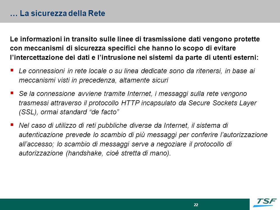 22 … La sicurezza della Rete Le informazioni in transito sulle linee di trasmissione dati vengono protette con meccanismi di sicurezza specifici che h