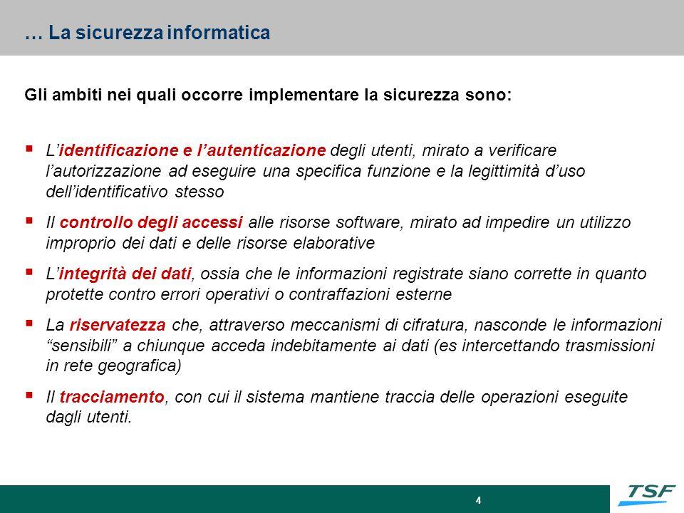 4 … La sicurezza informatica Gli ambiti nei quali occorre implementare la sicurezza sono:  L'identificazione e l'autenticazione degli utenti, mirato