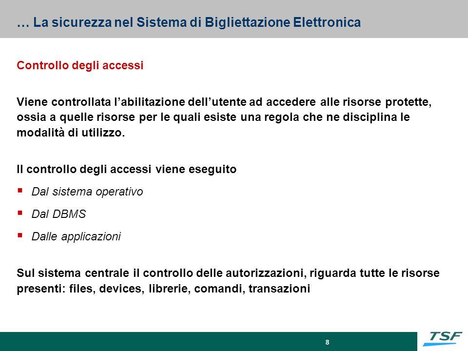 8 … La sicurezza nel Sistema di Bigliettazione Elettronica Controllo degli accessi Viene controllata l'abilitazione dell'utente ad accedere alle risor
