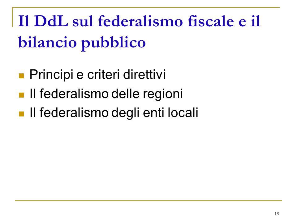 19 Il DdL sul federalismo fiscale e il bilancio pubblico Principi e criteri direttivi Il federalismo delle regioni Il federalismo degli enti locali