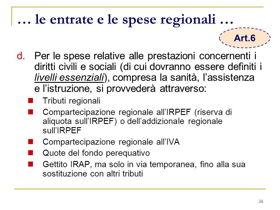 36 … le entrate e le spese regionali … d.Per le spese relative alle prestazioni concernenti i diritti civili e sociali (di cui dovranno essere definiti i livelli essenziali), compresa la sanità, l'assistenza e l'istruzione, si provvederà attraverso: Tributi regionali Compartecipazione regionale all'IRPEF (riserva di aliquota sull'IRPEF) o dell'addizionale regionale sull'IRPEF Compartecipazione regionale all'IVA Quote del fondo perequativo Gettito IRAP, ma solo in via temporanea, fino alla sua sostituzione con altri tributi Art.6