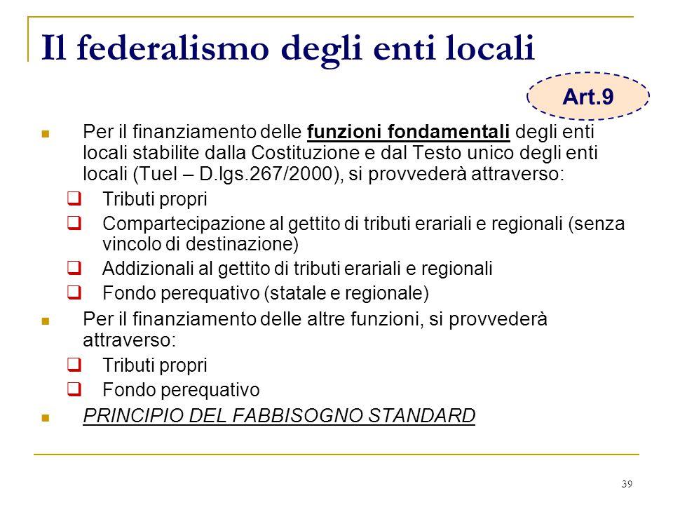 39 Il federalismo degli enti locali Per il finanziamento delle funzioni fondamentali degli enti locali stabilite dalla Costituzione e dal Testo unico degli enti locali (Tuel – D.lgs.267/2000), si provvederà attraverso:  Tributi propri  Compartecipazione al gettito di tributi erariali e regionali (senza vincolo di destinazione)  Addizionali al gettito di tributi erariali e regionali  Fondo perequativo (statale e regionale) Per il finanziamento delle altre funzioni, si provvederà attraverso:  Tributi propri  Fondo perequativo PRINCIPIO DEL FABBISOGNO STANDARD Art.9