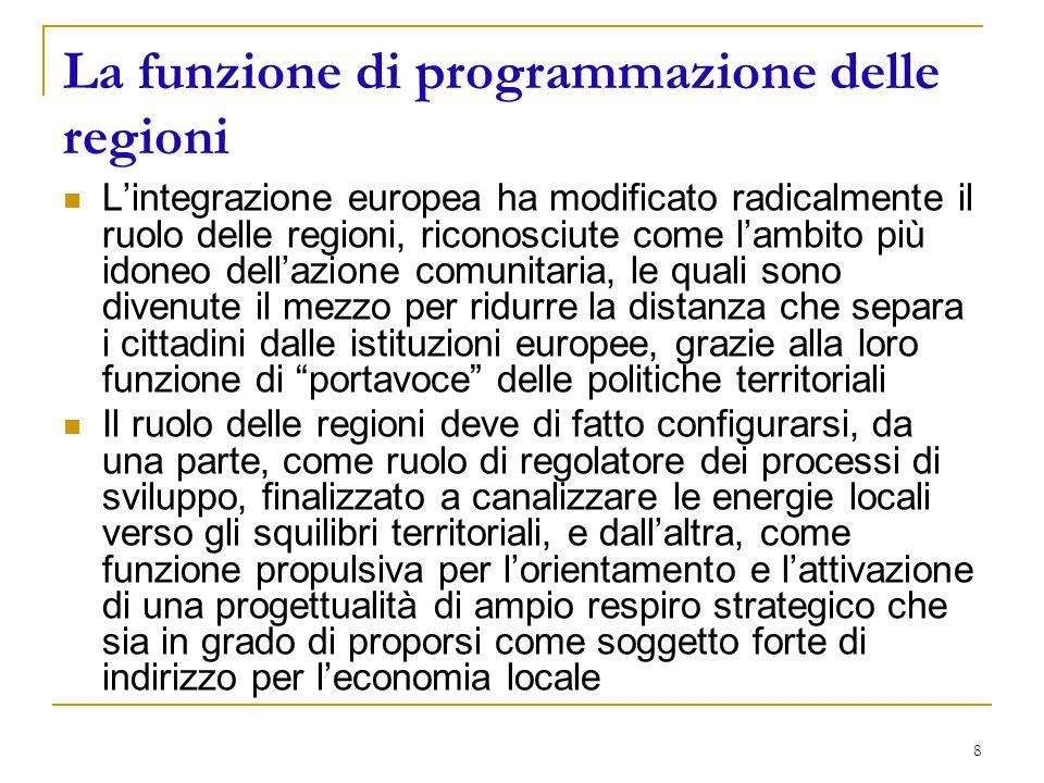 8 La funzione di programmazione delle regioni L'integrazione europea ha modificato radicalmente il ruolo delle regioni, riconosciute come l'ambito più idoneo dell'azione comunitaria, le quali sono divenute il mezzo per ridurre la distanza che separa i cittadini dalle istituzioni europee, grazie alla loro funzione di portavoce delle politiche territoriali Il ruolo delle regioni deve di fatto configurarsi, da una parte, come ruolo di regolatore dei processi di sviluppo, finalizzato a canalizzare le energie locali verso gli squilibri territoriali, e dall'altra, come funzione propulsiva per l'orientamento e l'attivazione di una progettualità di ampio respiro strategico che sia in grado di proporsi come soggetto forte di indirizzo per l'economia locale