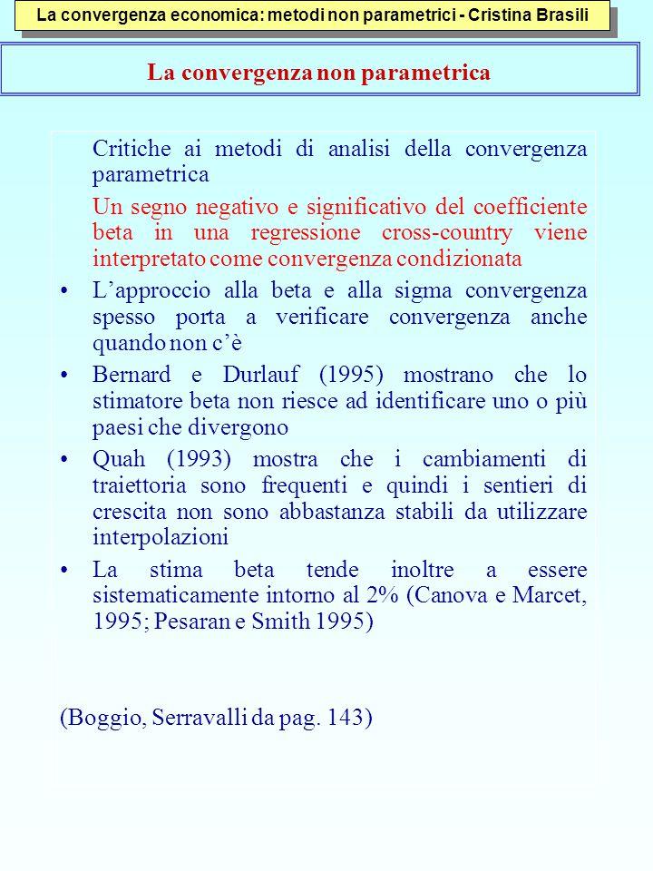 5 Il metodo dello Stochastic Kernel proposto da Danny Quah Nasce da una critica al concetto di β e di σ convergenza e propone una metodologia alternativa Quah (1996) tenta anche di dare una risposta su quale possa essere la forma della convergenza.