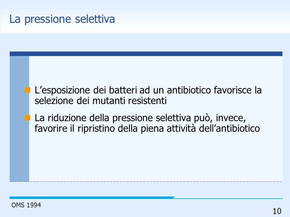 10 La pressione selettiva L'esposizione dei batteri ad un antibiotico favorisce la selezione dei mutanti resistenti La riduzione della pressione selet