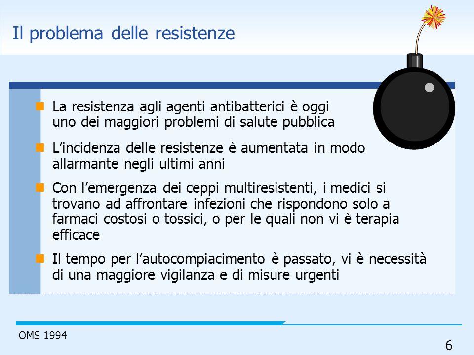 6 Il problema delle resistenze La resistenza agli agenti antibatterici è oggi uno dei maggiori problemi di salute pubblica L'incidenza delle resistenz