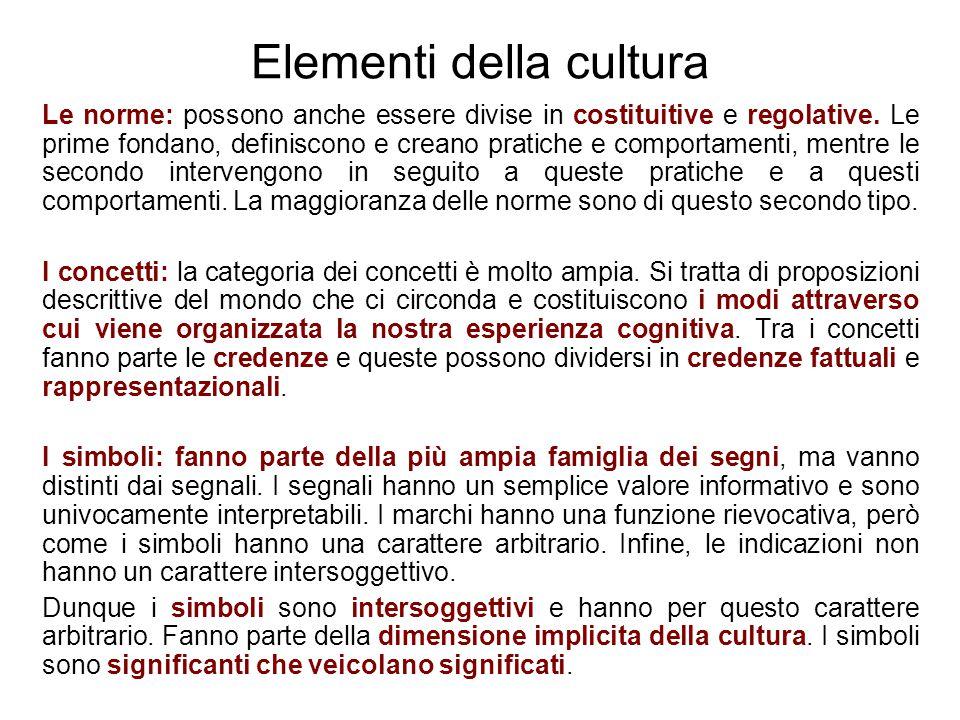 Elementi della cultura Le norme: possono anche essere divise in costituitive e regolative. Le prime fondano, definiscono e creano pratiche e comportam