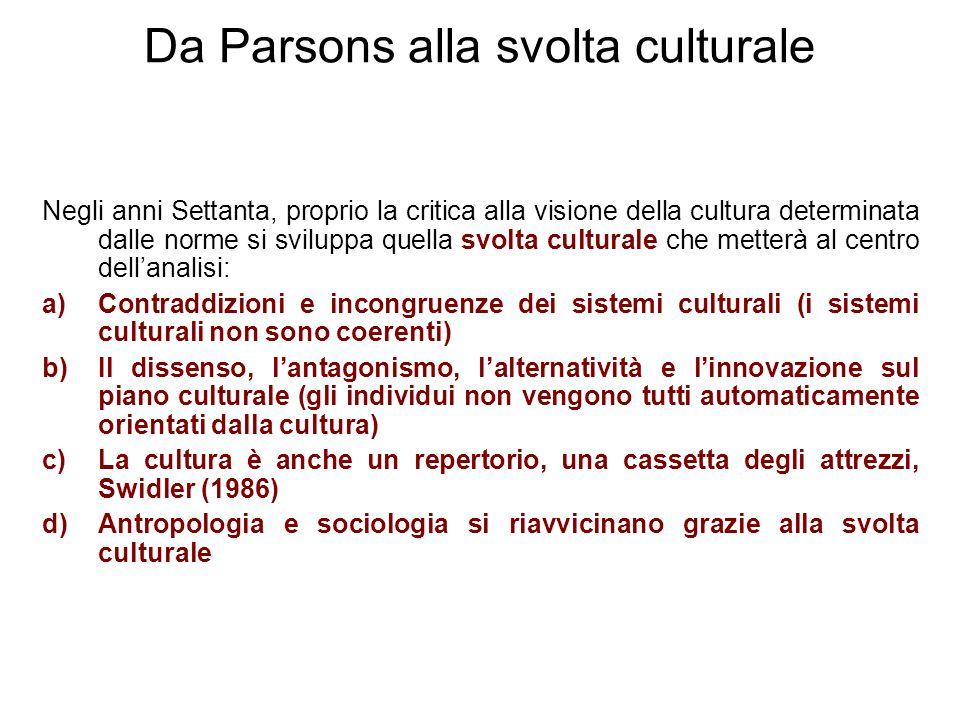 Da Parsons alla svolta culturale Negli anni Settanta, proprio la critica alla visione della cultura determinata dalle norme si sviluppa quella svolta