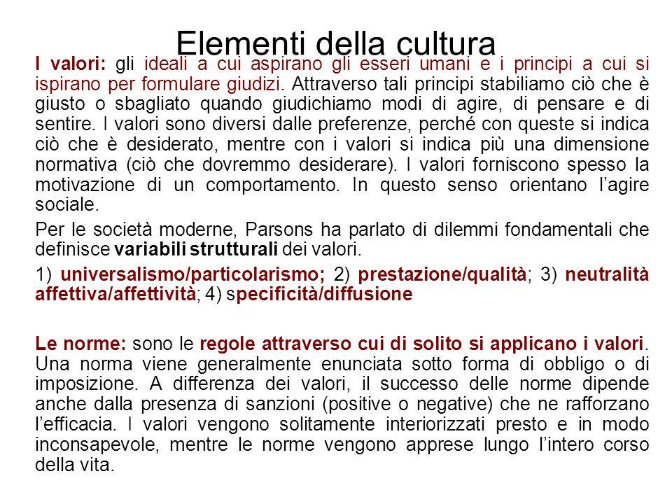 Elementi della cultura I valori: gli ideali a cui aspirano gli esseri umani e i principi a cui si ispirano per formulare giudizi. Attraverso tali prin