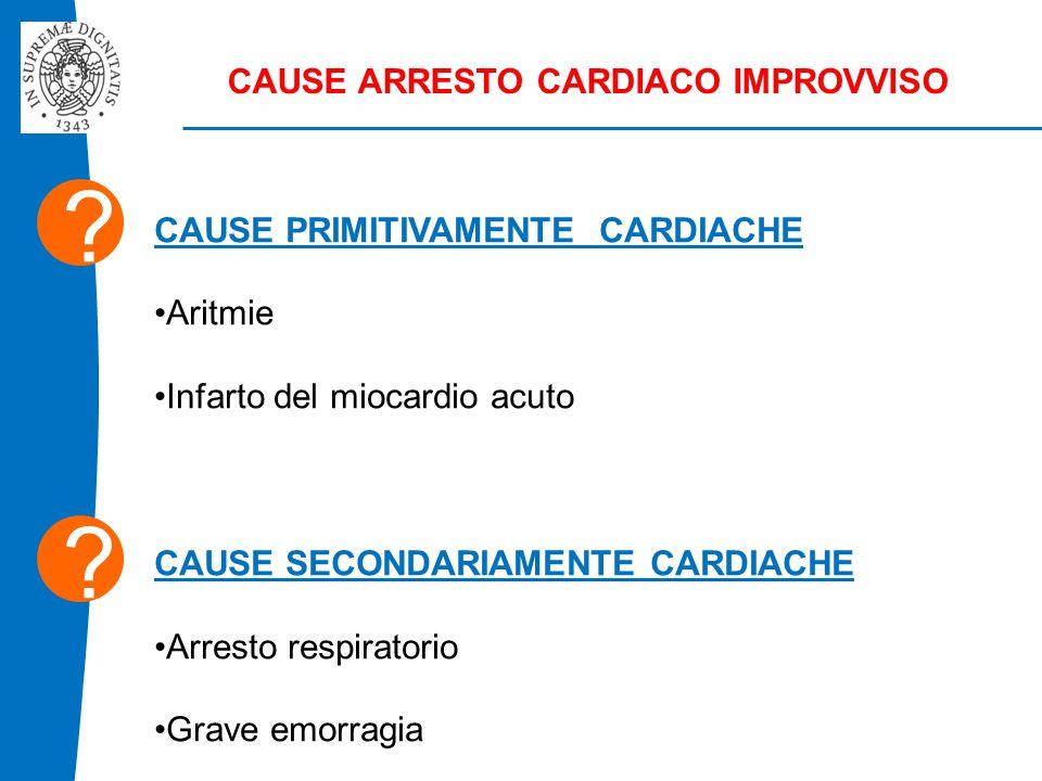 CAUSE ARRESTO CARDIACO IMPROVVISO CAUSE PRIMITIVAMENTE CARDIACHE Aritmie Infarto del miocardio acuto CAUSE SECONDARIAMENTE CARDIACHE Arresto respiratorio Grave emorragia .