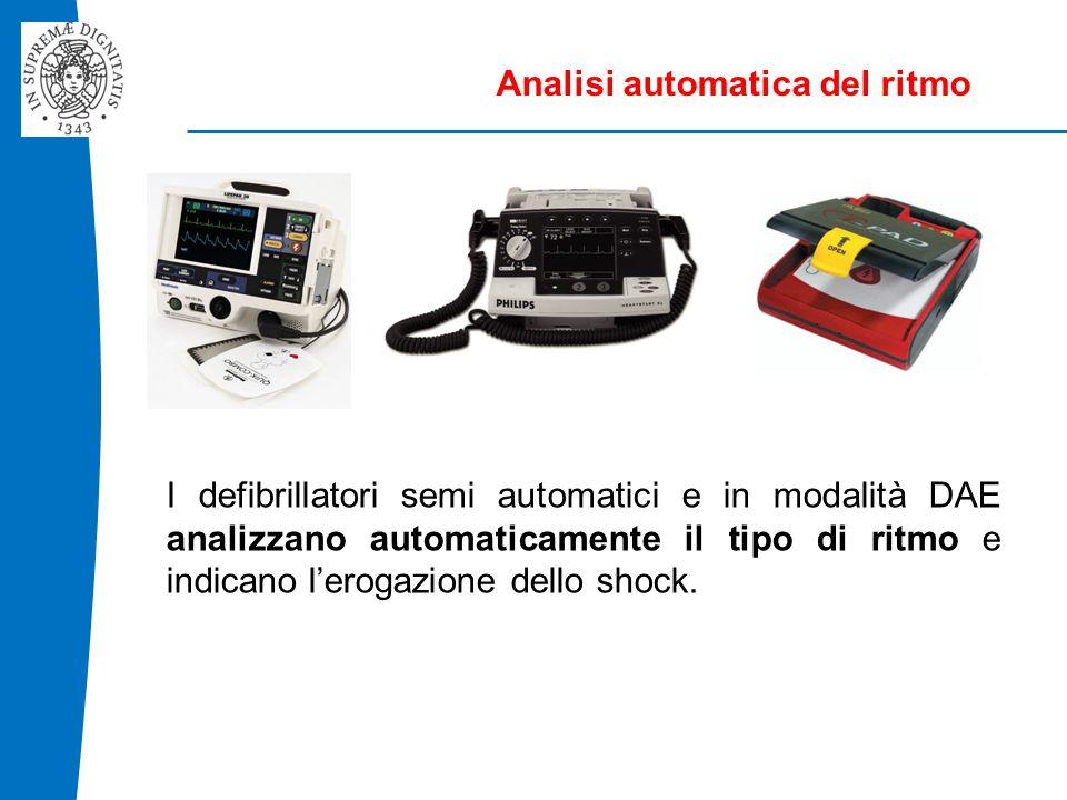 Analisi automatica del ritmo I defibrillatori semi automatici e in modalità DAE analizzano automaticamente il tipo di ritmo e indicano l'erogazione dello shock.