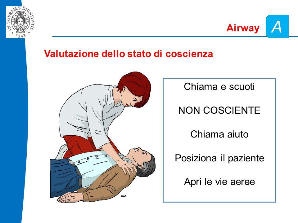 Airway A Valutazione dello stato di coscienza Chiama e scuoti NON COSCIENTE Chiama aiuto Posiziona il paziente Apri le vie aeree