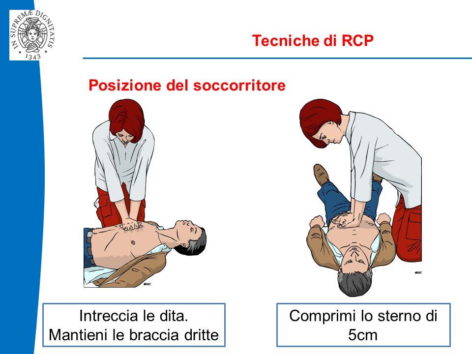 Tecniche di RCP Posizione del soccorritore Intreccia le dita.