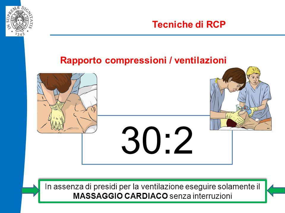 Tecniche di RCP Rapporto compressioni / ventilazioni 30:2 In assenza di presidi per la ventilazione eseguire solamente il MASSAGGIO CARDIACO senza interruzioni