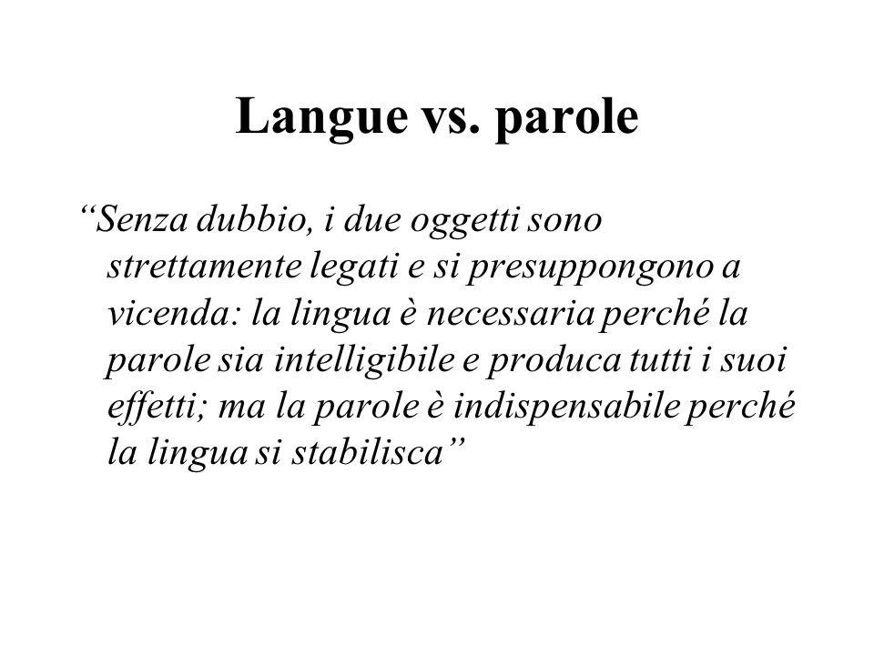 """Langue vs. parole """"Senza dubbio, i due oggetti sono strettamente legati e si presuppongono a vicenda: la lingua è necessaria perché la parole sia inte"""