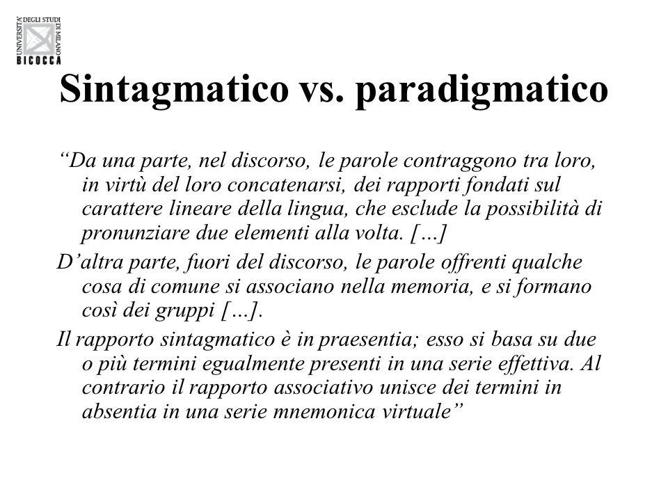 """Sintagmatico vs. paradigmatico """"Da una parte, nel discorso, le parole contraggono tra loro, in virtù del loro concatenarsi, dei rapporti fondati sul c"""