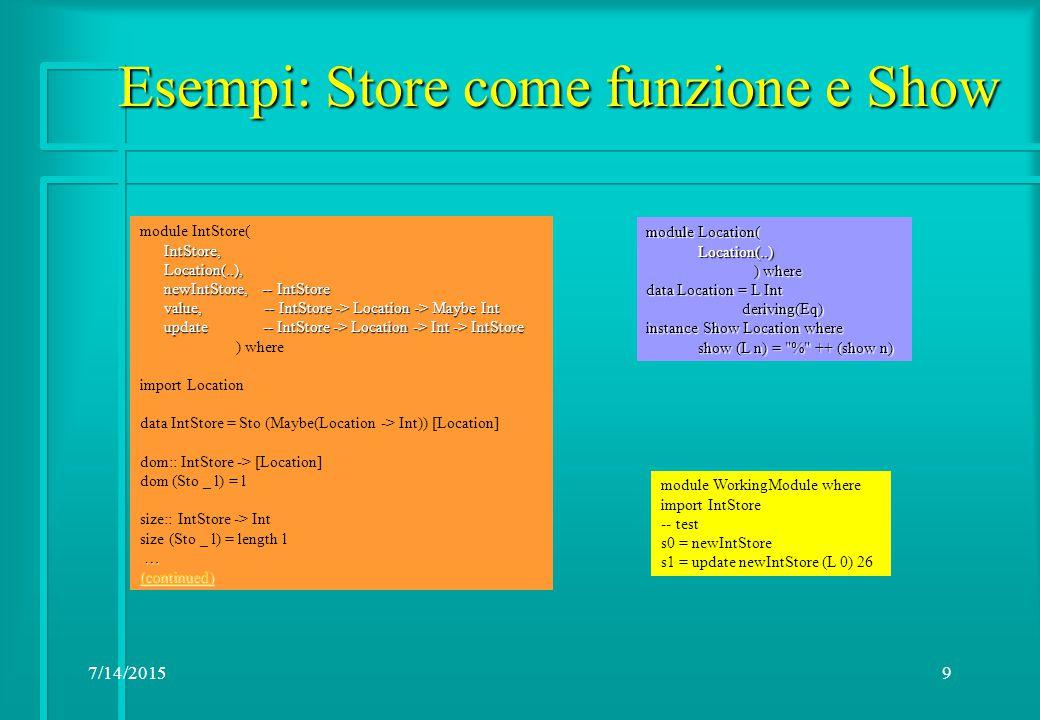 7/14/201510 Esercizi:  Store.