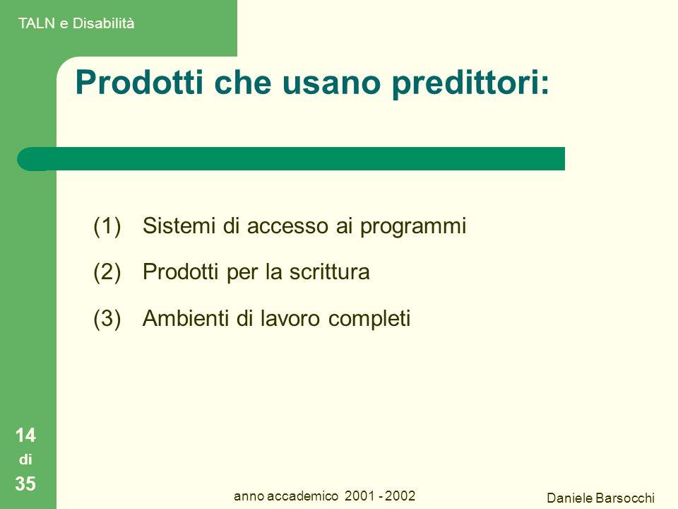 Daniele Barsocchi anno accademico 2001 - 2002 Prodotti che usano predittori: (1)Sistemi di accesso ai programmi (2)Prodotti per la scrittura (3)Ambienti di lavoro completi 14 di 35 TALN e Disabilità
