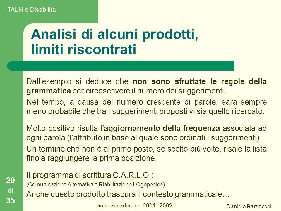 Daniele Barsocchi anno accademico 2001 - 2002 Analisi di alcuni prodotti, limiti riscontrati 20 di 35 Dall'esempio si deduce che non sono sfruttate le regole della grammatica per circoscrivere il numero dei suggerimenti.