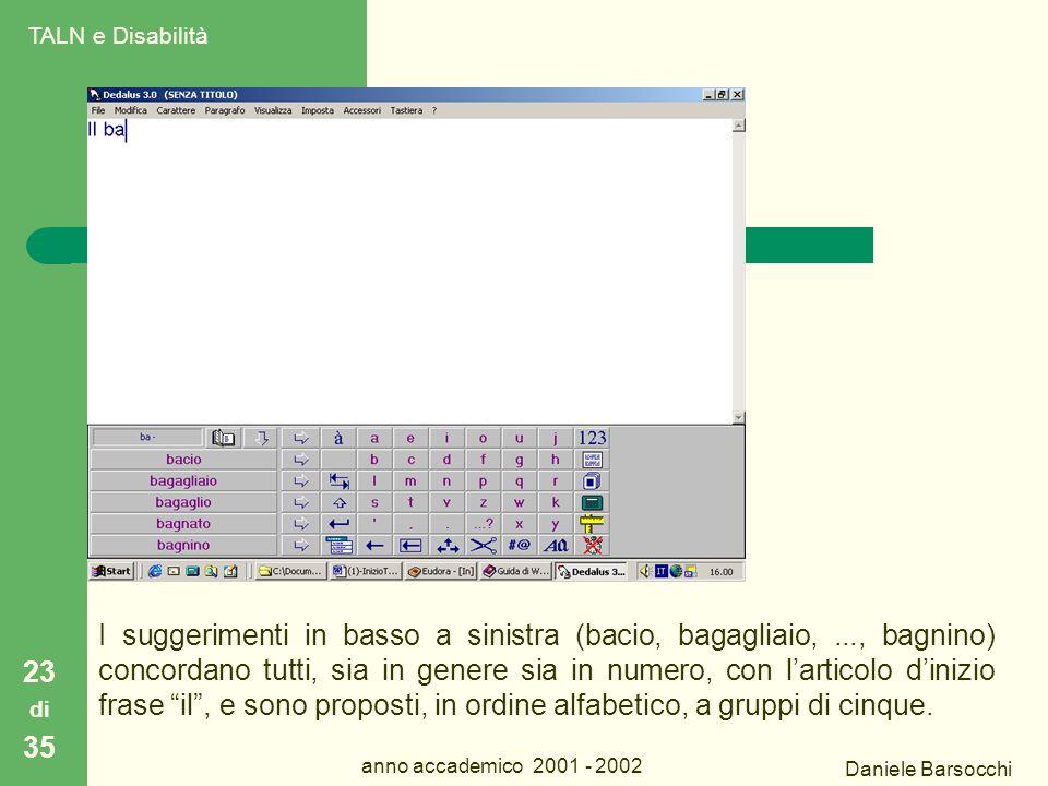 Daniele Barsocchi anno accademico 2001 - 2002 Dedalus 23 di 35 I suggerimenti in basso a sinistra (bacio, bagagliaio,..., bagnino) concordano tutti, sia in genere sia in numero, con l'articolo d'inizio frase il , e sono proposti, in ordine alfabetico, a gruppi di cinque.