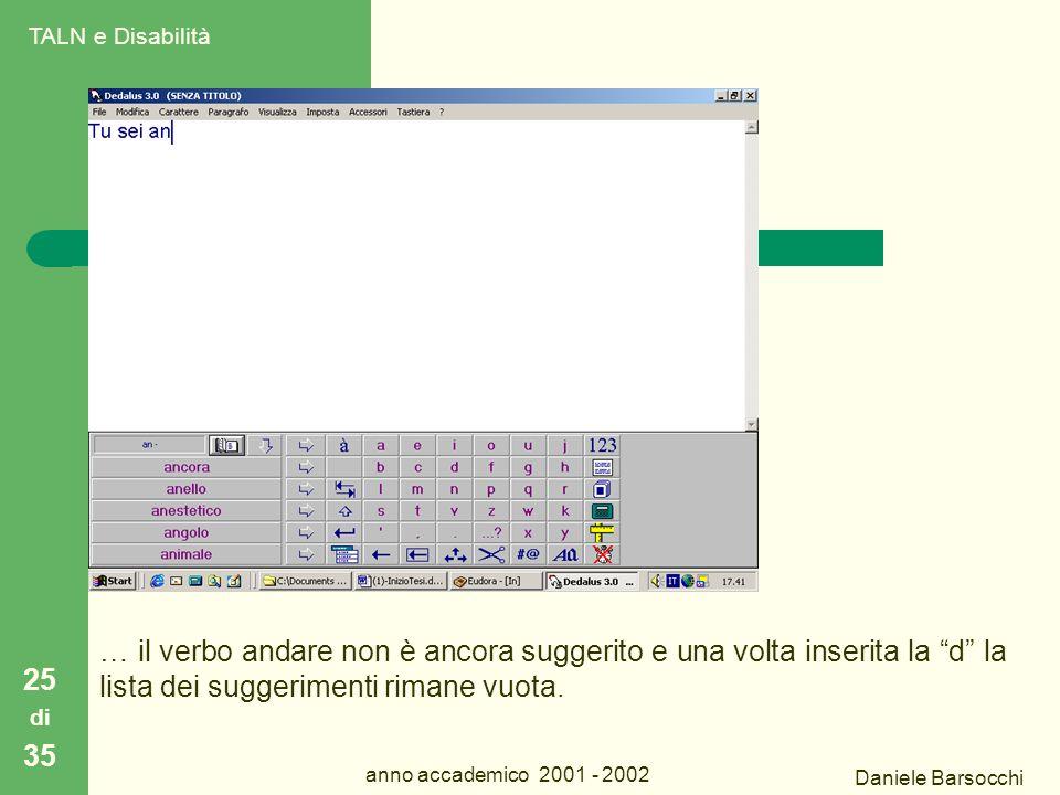 Daniele Barsocchi anno accademico 2001 - 2002 Dedalus 25 di 35 … il verbo andare non è ancora suggerito e una volta inserita la d la lista dei suggerimenti rimane vuota.