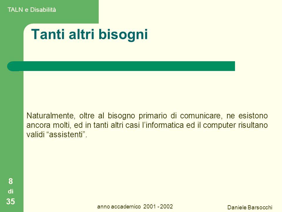 Daniele Barsocchi anno accademico 2001 - 2002 Tanti altri bisogni Naturalmente, oltre al bisogno primario di comunicare, ne esistono ancora molti, ed in tanti altri casi l'informatica ed il computer risultano validi assistenti .