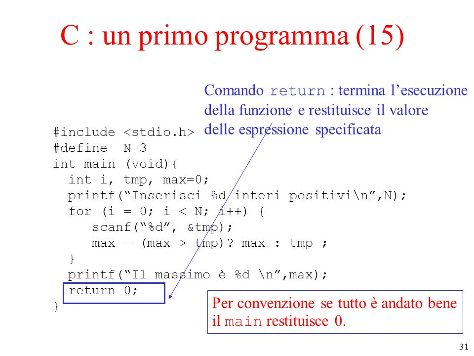 "31 C : un primo programma (15) #include #define N 3 int main (void){ int i, tmp, max=0; printf(""Inserisci %d interi positivi\n"",N); for (i = 0; i < N;"