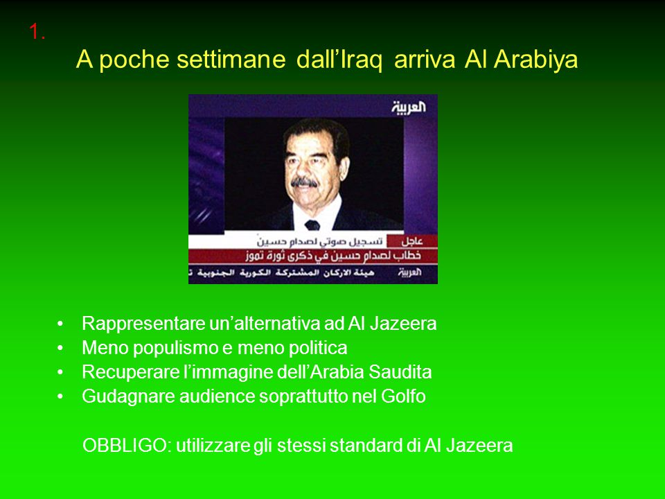 A poche settimane dall'Iraq arriva Al Arabiya Rappresentare un'alternativa ad Al Jazeera Meno populismo e meno politica Recuperare l'immagine dell'Arabia Saudita Gudagnare audience soprattutto nel Golfo OBBLIGO: utilizzare gli stessi standard di Al Jazeera 1.