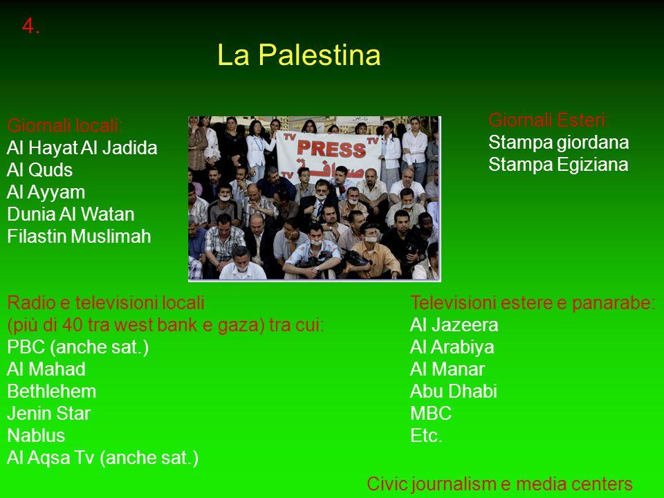 4. La Palestina Giornali locali: Al Hayat Al Jadida Al Quds Al Ayyam Dunia Al Watan Filastin Muslimah Radio e televisioni locali (più di 40 tra west b
