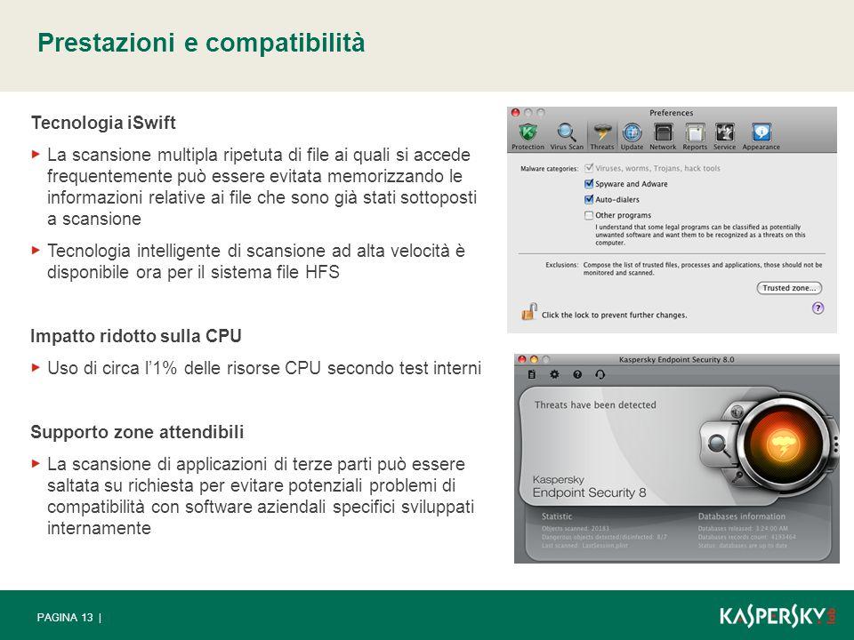 PAGINA 13 | Prestazioni e compatibilità Tecnologia iSwift La scansione multipla ripetuta di file ai quali si accede frequentemente può essere evitata