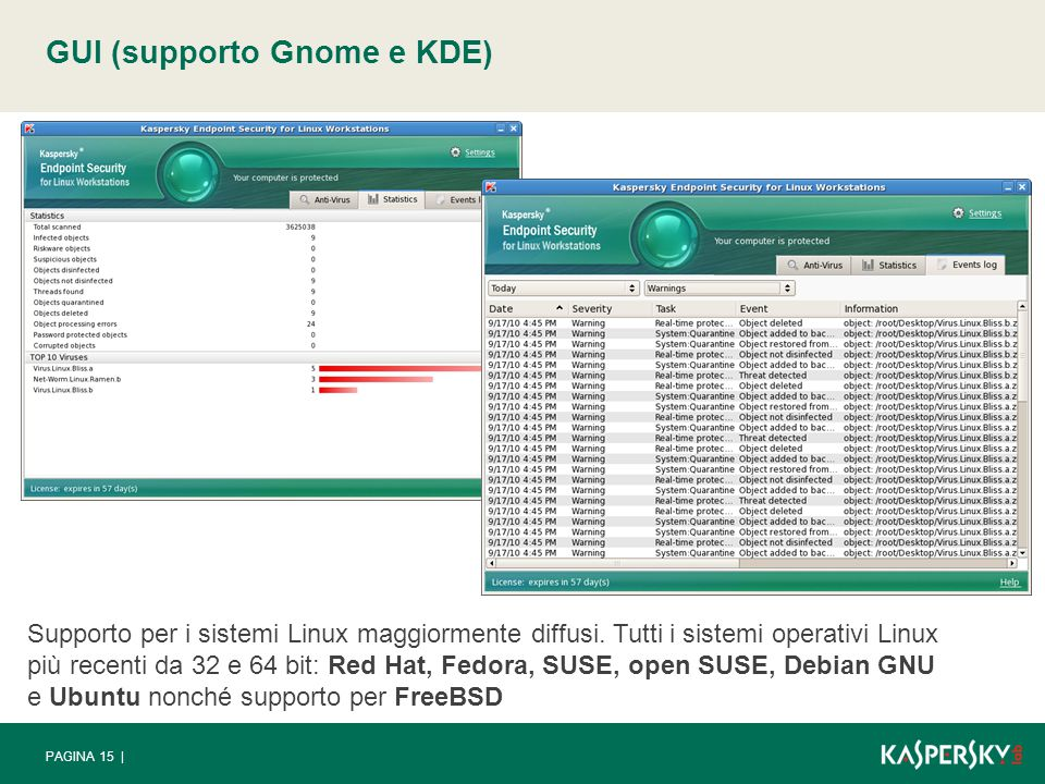 Support for the most popular Linux systems - all the latest 32- and 64-bit Linux OS: Red Hat, Fedora, SUSE, open SUSE, Debian GNU and Ubuntu; and support for FreeBSD PAGINA 15 | GUI (supporto Gnome e KDE) Supporto per i sistemi Linux maggiormente diffusi.