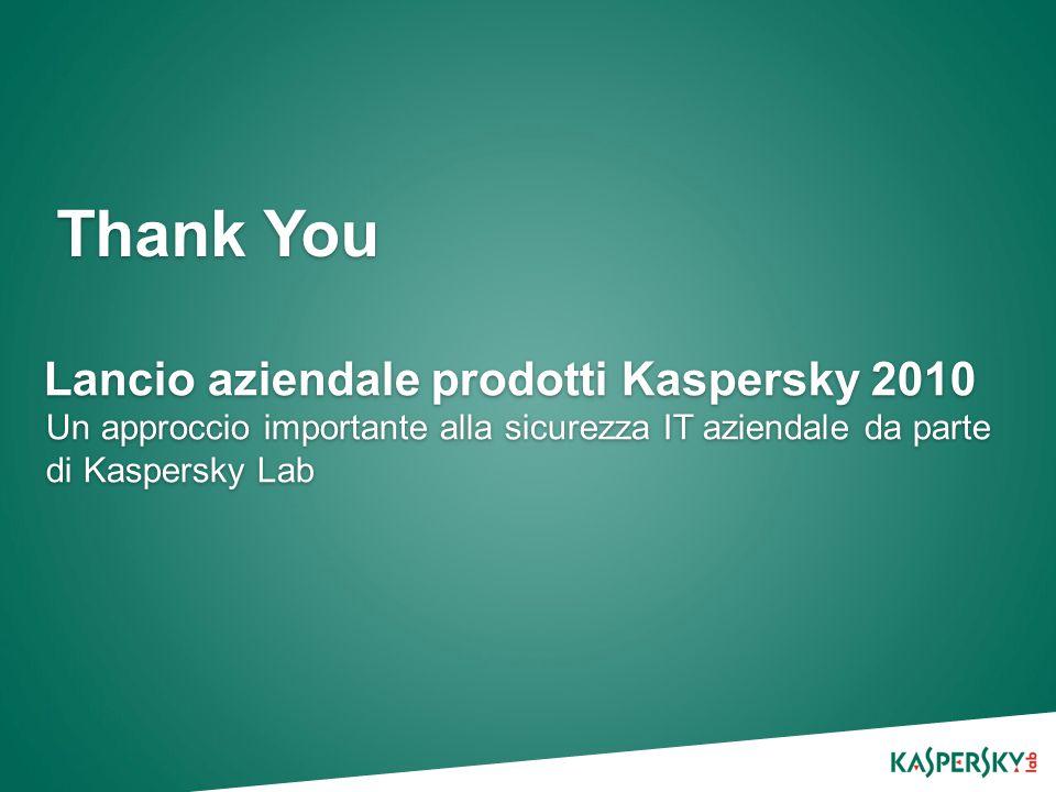 Thank You Lancio aziendale prodotti Kaspersky 2010 Un approccio importante alla sicurezza IT aziendale da parte di Kaspersky Lab
