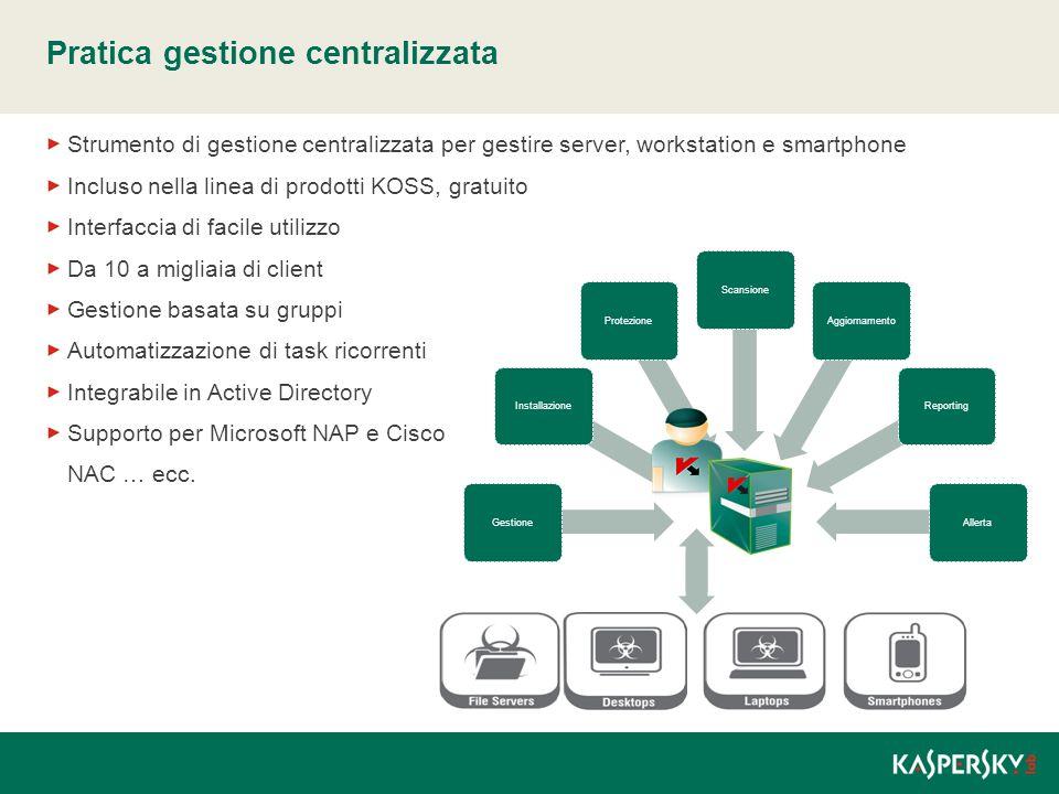 Pratica gestione centralizzata Strumento di gestione centralizzata per gestire server, workstation e smartphone Incluso nella linea di prodotti KOSS,
