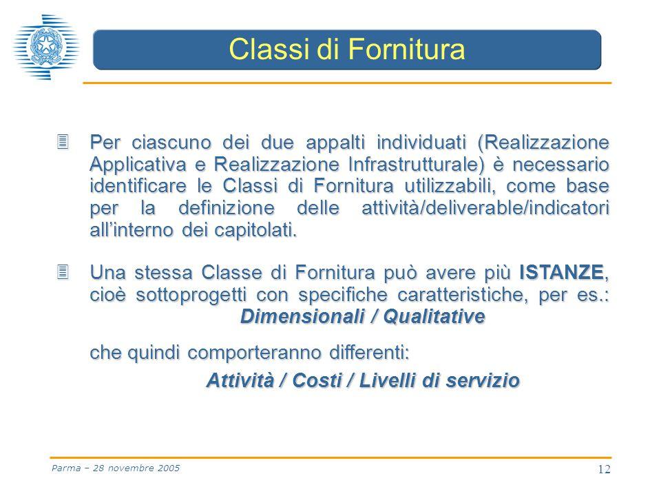 12 Parma – 28 novembre 2005 3 Per ciascuno dei due appalti individuati (Realizzazione Applicativa e Realizzazione Infrastrutturale) è necessario identificare le Classi di Fornitura utilizzabili, come base per la definizione delle attività/deliverable/indicatori all'interno dei capitolati.
